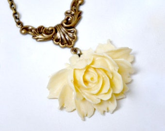Ivory Rose Necklace, Large Cabbage Rose Necklace, Antique Brass Flower Necklace, Cream Rose Jewelry, Victorian Style Bridal Necklace, Gift