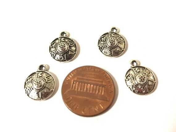 5 charms - Tibetan shield shape om mantra prayer charms - CM196