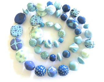 Kazuri Bead Necklace, Fair Trade, Light Blue, French Blue and White Ceramic Necklace