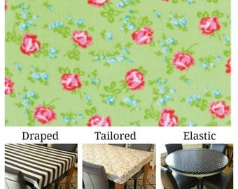 Laminated cotton aka oilcloth tablecloth custom size and fit choose elastic, tailored or draped, Tanya Whelan scattered roses green
