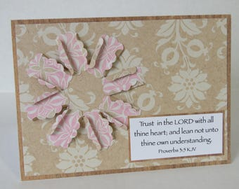 Trust In The Lord, Handmade Card, Christian Card, Blank Card, All Occasion Card, Flower.
