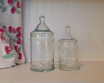Vintage Apothecary Jars - Set of Two - Candy Jars - Terarrium Jars