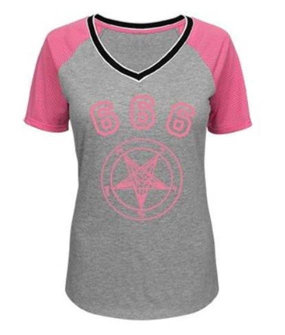 Pink Team Baphomet Mesh Sleeve V Neck Tee shirt
