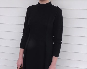 1960s Black Dress 60s Wool LBD Vintage Classic S