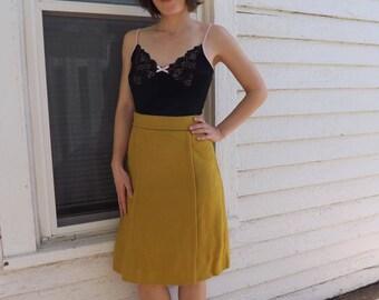 50s Skirt Wool Yellow Chartreuse Straw Vintage 1950s XS XXS 22 Waist