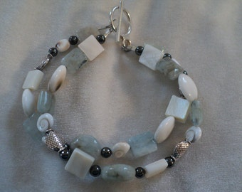 Treasures From The Sea! Blue/Green Aquamarine, Shell, Hematite and Sterling Silver Double Strand Bracelet. Beachy Beauty.