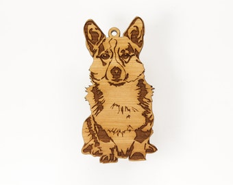 Corgi Ornament from Timber Green Woods. Personalize with Name Engraving. Made in the U.S.A! - Cherry Wood - (Seated Corgi)