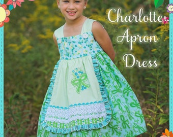 PRINTED Sewing Pattern : Girls Charlotte Apron Dress - Size 6 Month through 8 Years
