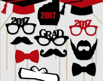 2017 Graduation Photo Booth Props Graduation PhotoBooth Portrait Glasses Class of 2017 Red Glitter Black Set of 12 Custom Colors Available