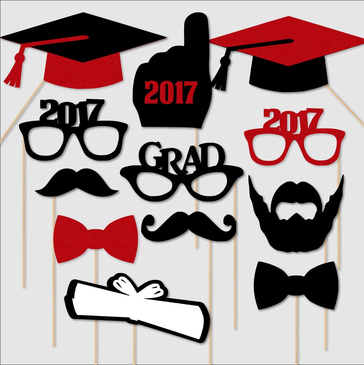 graduation prop 2017 graduation photo booth props graduation photobooth portrait glasses class of 2017 red glitter black set of 12 custom colors available