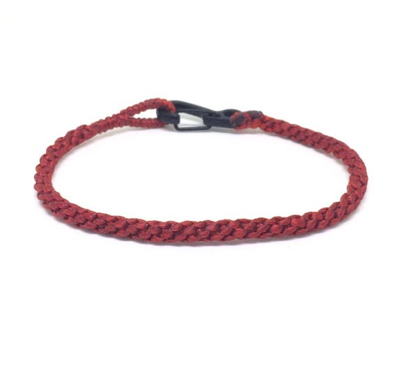 Fair Trade Skinny Red Wax Cotton Weave Thai Buddhist Wristband Mens Cotton Bracelet Handcrafted Wristwear