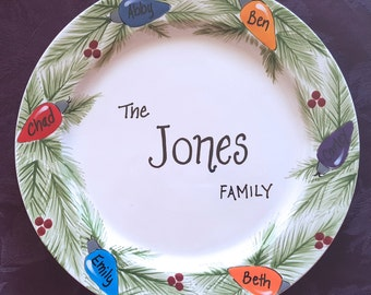 Custom Christmas Platter,  Personalized Platter,  Gift for Parents, Christmas Gift for Grandparents, Christmas  Family Wreath Plate