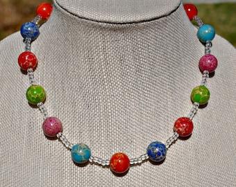 Rainbow Imperial Jasper Bubble Round Necklace