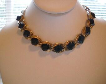 Vintage Jet Black Rhinestone Necklace Chunky Designer Quality FREE SHIPPING