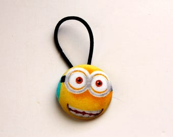 Minion Fabric Covered Giant Button Ponytail Holder