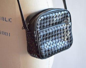 Vintage 1990s WOVEN leather shoulder bag
