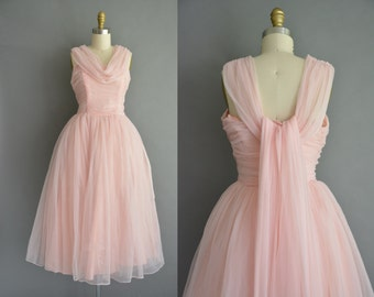 50 cotton candy pink chiffon party prom vintage dress. 50s bridal party reception dress.  vintage 1950s dress