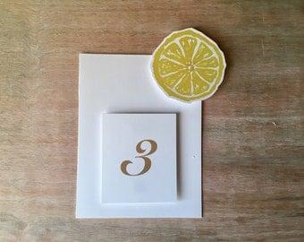 Lemon Wheel Table Number Tents - watercokor lemons   - for Events, Weddings, Parties, Showers, Graduations.