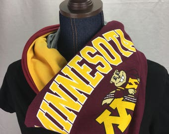 University of Minnesota Recycled T shirt Infinity Scarf