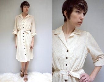 70s Shirt Dress //  Ivory Midi Dress //  Cream Button Up Dress  //  THE BERTRAND
