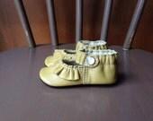 Ruffled Mary Jane Mustard Yellow Leather