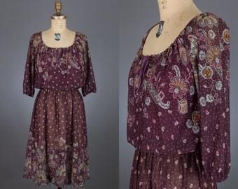 vintage 80s sheer print dress | eggplant color