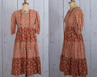 Vintage 1970s boho midi dress