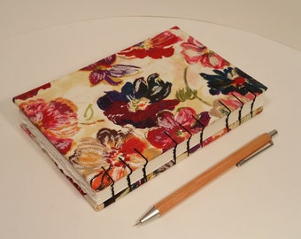 Floral Cloth Coverd hardback Notebook/Sketchbook/Journal/Bulletjournal with 2 interior pockets, blank pages, Coptic bound