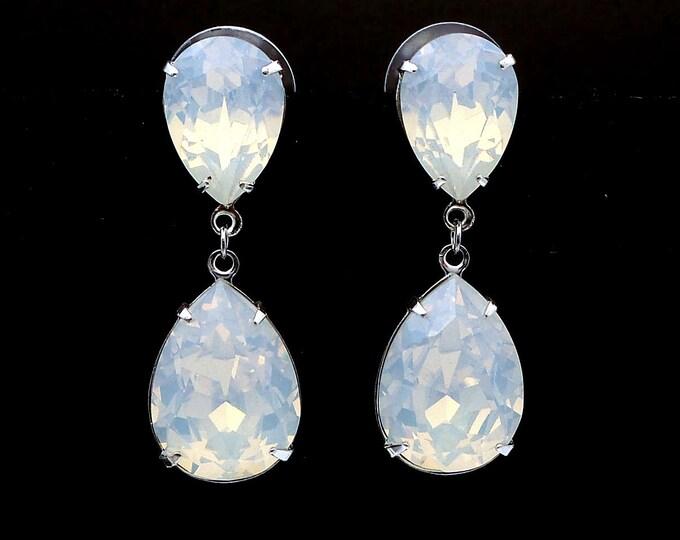 bridal jewelry bridesmaid gift wedding prom christmas party prom gift swarovski teardrop white opal crystal drop teardrop post earrings