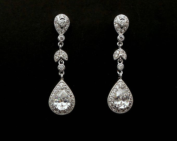 bridesmaid gift wedding bridal jewelry prom christmas party Clear white Faux Marcasite vintage etched Dangle rhodium teardrop post earrings