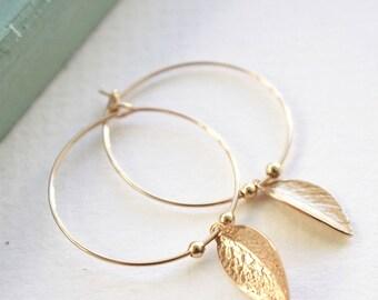 Gold Leaf hoops, gold hoop earrings, charm earrings, dainty jewellery, delicate earrings