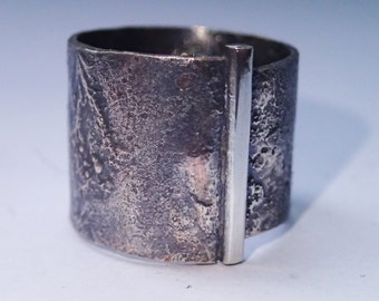 Unique one of a kind mixed metal silver copper ring band