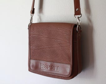 90's Vintage ESPRIT Brown Leather Satchel Messenger Bag