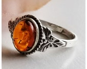 20% OFF SALE Amber Ring - Sterling Silver Ring - Baltic Amber ring - Amber Jewelry - Honey Amber ring - Genuine Amber Ring - Amber ring - Fr
