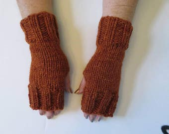 Hand Knit Bulky Fingerless Mittens/Texting Gloves - Burnt Orange Medium Weight Mittens