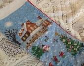 vintage needlepoint CHRISTMAS STOCKING with snow scene - Imperial Elegance, light blue, ice skating