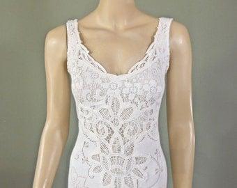 White Wedding Dress MERMAID wedding dress VINTAGE Lace Wedding Dress Handmade Bohemian Dress Sz Medium