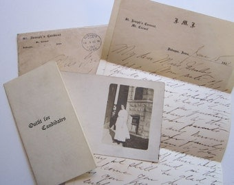 antique ephemera circa 1911 - St. Joseph's Convent Mount Carmel - Dubuque Iowa - Outfit for Candidates list, rppc, letter from Sister