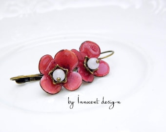 Forgetmenot - enamel earrings - flower - burgundy-rose