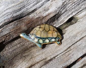 Handmade Porcelain Turtle Brooch