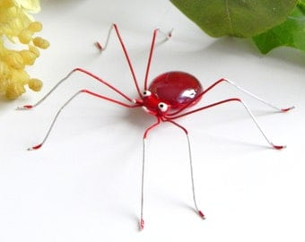 Single Medium Small Red Opaque Copper Wire Spider Ornament,Wire Art, Collector Item, Unique Gift for Insect Lover