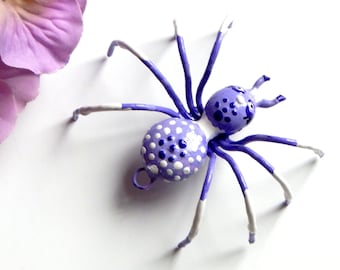 Pretty Little Purple and White Hanging Metal Spider, Window, Wall Ornament, Unique One of a Kind Spider, Collector Item, Sweet Gift