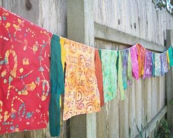 Garden Flags 10 Feet Banner Inside/Outside Decoration Rainbow Batik Hippie Flags Tibetan Prayer Flags Wall Party Decoration Birthday Banner