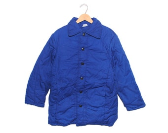 Vintage European Cobalt Blue Padded Cotton Button Up Chore Coat - Medium