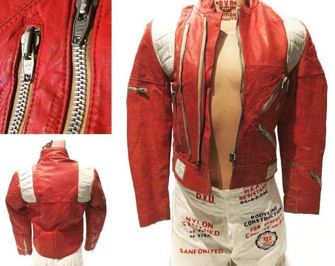 Red Leather Zipper Jacket Vintage Small (LJ-8)