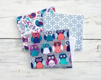 Owls and Birds Burp Cloths, Girl Burp Cloths, Baby Girl Burp Cloth, Baby Shower Gift, Girl Burp Cloth, Flannel Burp Cloth, Gift Set of 3