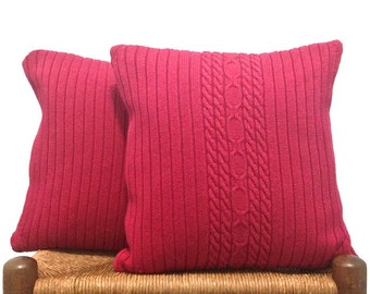 Red Knit Pillow Cable Knit Sweater Pillows Cotton Covers Set of Two 16-Inch Cushion Toppers Up Cycled Sweater Cottage Chic Style