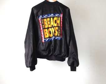 vintage BEACH BOYS 90s satin jacket rock music tour 1991 made in USA oversize silky coat