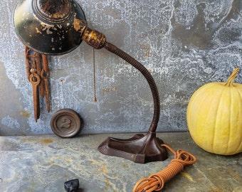 Gooseneck Lamp / Industrial Lighting / Deco Motif / Desk Lamp / Cloth Wire and Vintage style Plug