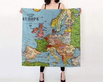"""Vintage Europe Map Pure Silk Square Scarf Large 26"""" or Extra-Large 36"""" World Travel Souvenir Photograph Print France Spain Germany UK EU"""